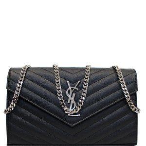 Saint Laurent Chain Yves Envelope Black Wallet